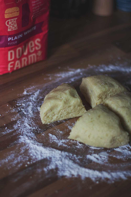 Potato scone dough ready for rolling