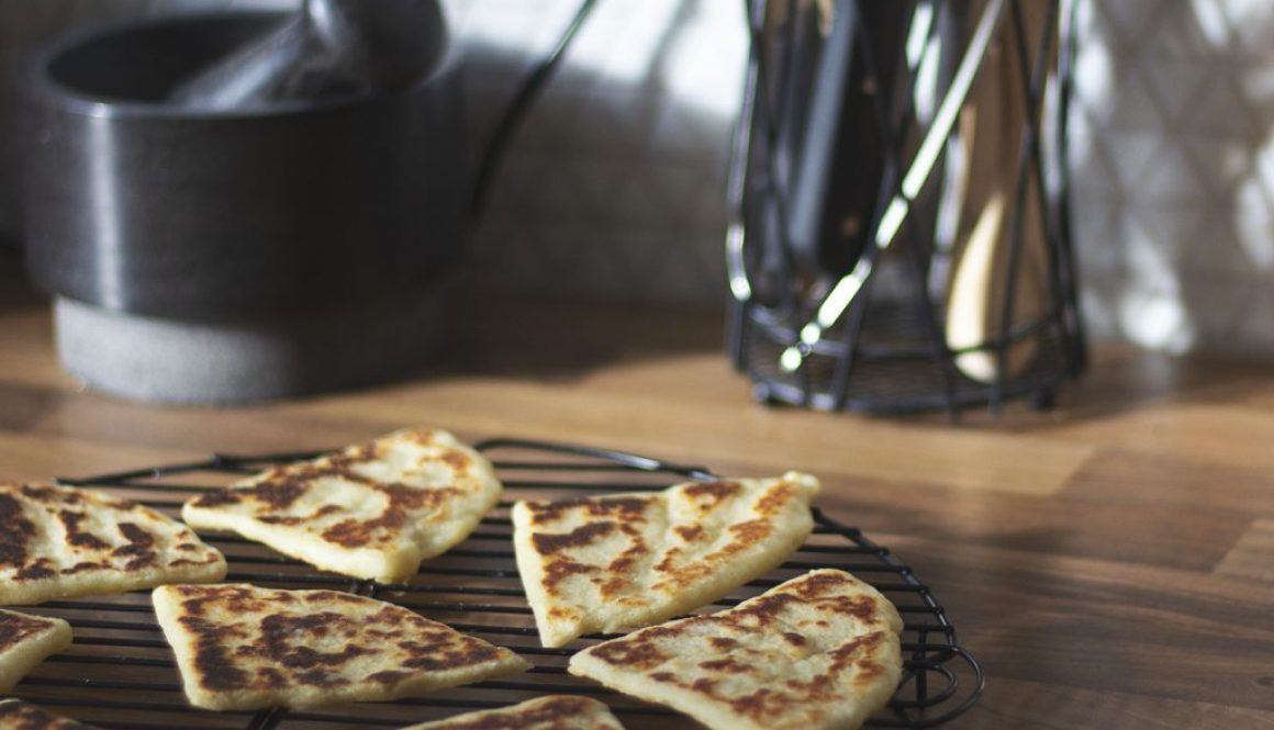 Potato scones cooling on a wire rack