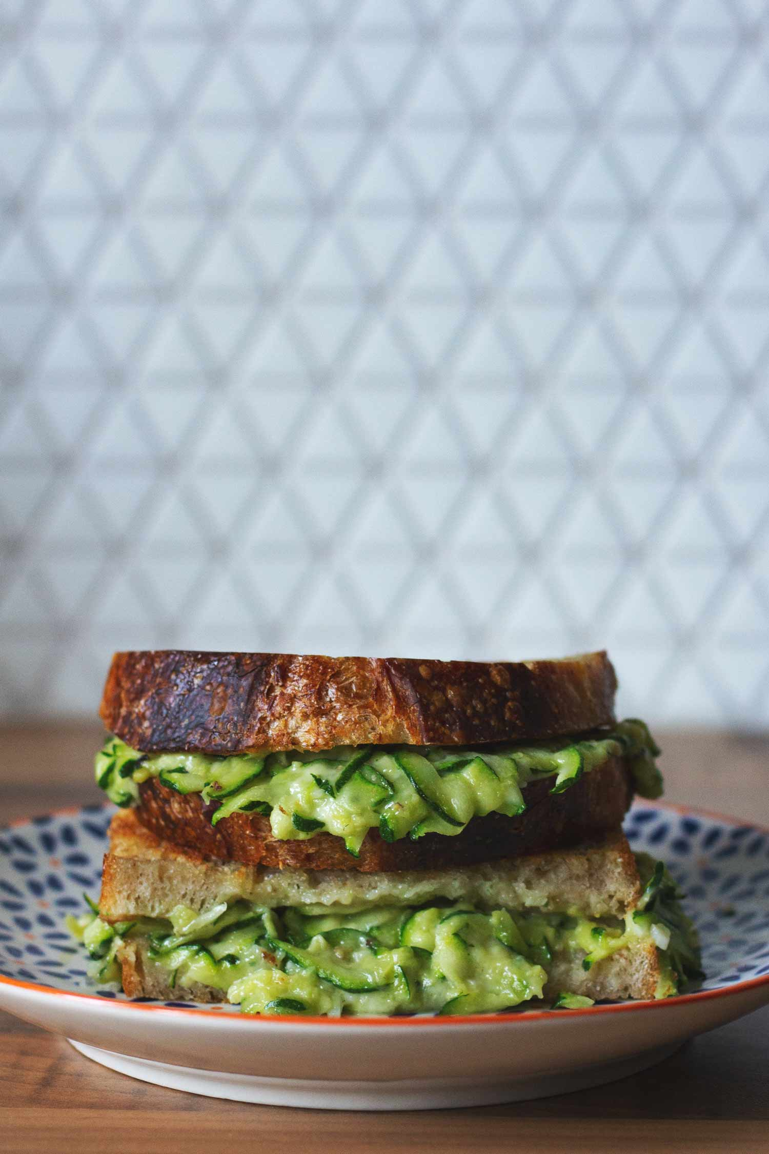A grilled cheese sandwich with courgette
