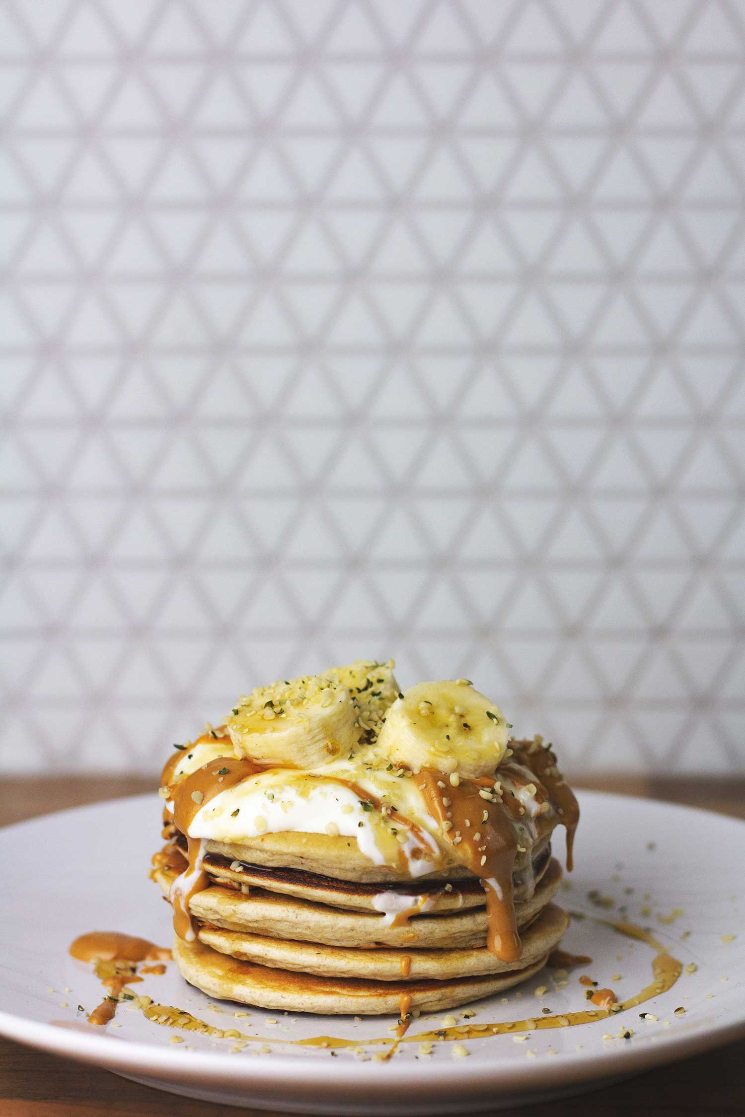 A stack of banana oat protein pancakes