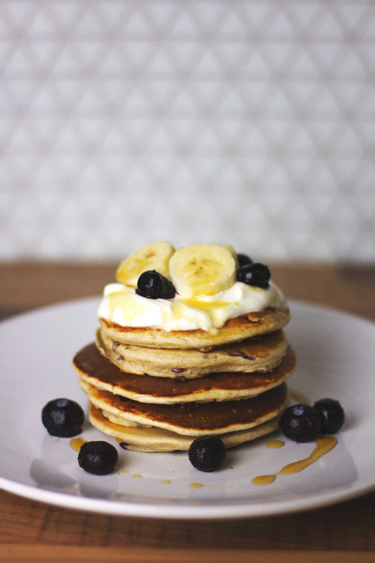 Banana oat protein pancakes with blueberries