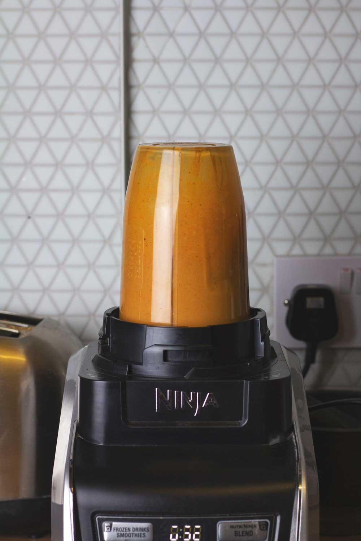Sauce being blended in a Ninja blender