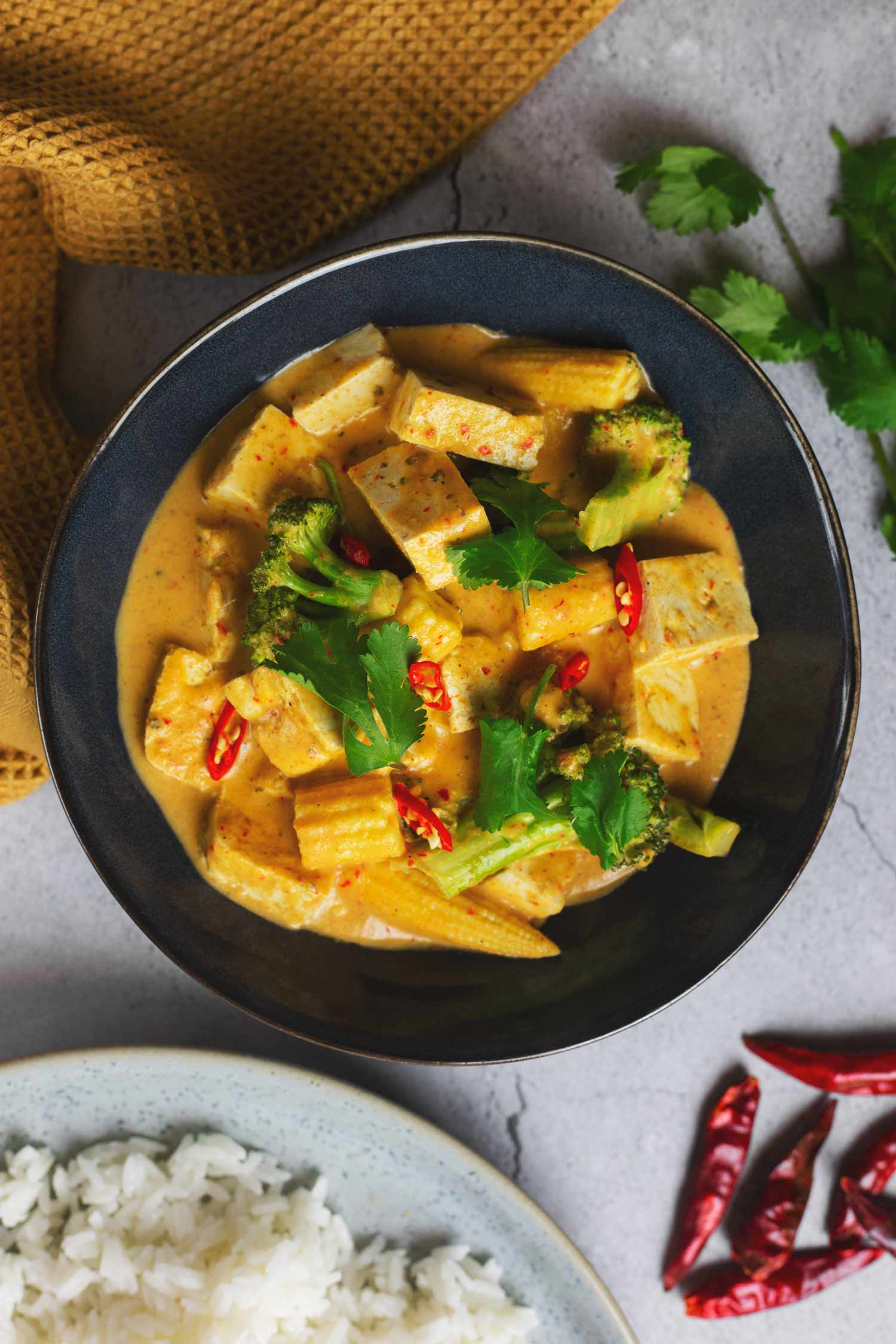 A bowl of Thai red curry with tofu and vegetables