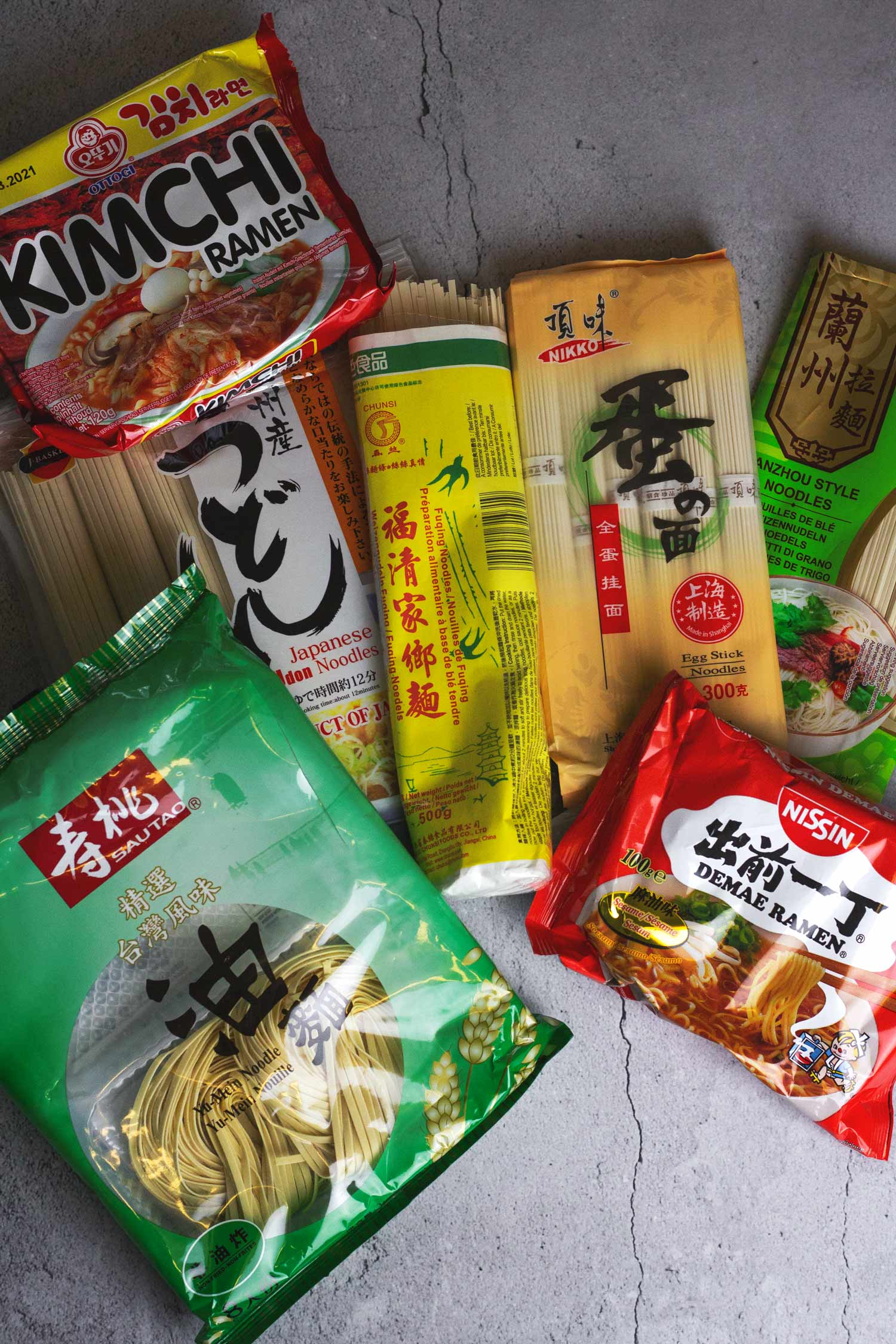 A selection of Chinese and Japanese noodles