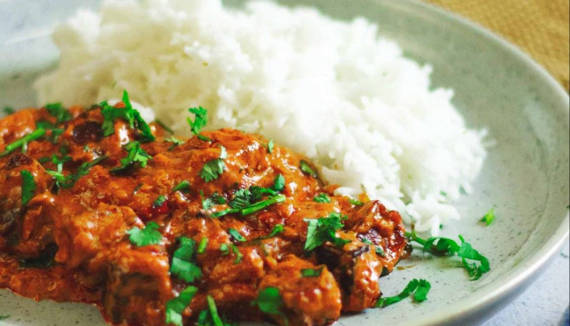 Butter paneer curry with basmati rice