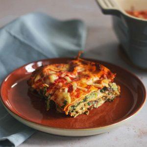 A slice of vegetable lasagne